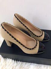 Chanel Classic Leather Cap Toe Platform Pump, size:37