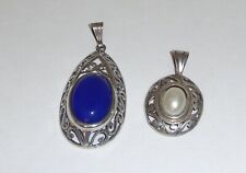 Lot of 2 Sterling Silver Open Filagree Pendant with Stones
