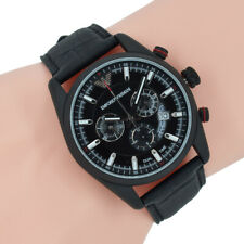 Emporio Armani Herrenuhr AR6035 Chronograph Schwarz Leder Armbanduhr