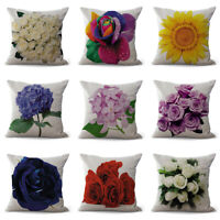 Linen Pillow Case Colorful Flowers Home Decoration Rose Hydrangea Cushion Cover