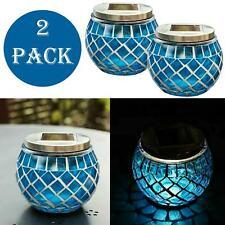 MOSAIC SOLAR LIGHTS GARDEN TABLE LAMP LANTERN LED OUTDOOR BLUE LIGHTS 2 PACK