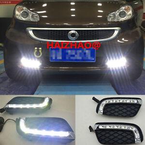 Car LED Daytime Running Light DRL Fog Lamp White For Benz Smart Fortwo 2008-2011