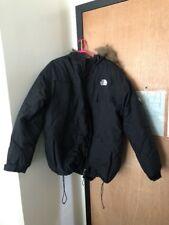 Mens The North Face Goose Down Jacket Coat Parka Black Hood Fur Trim Size XL