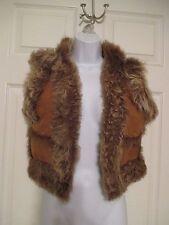 Lamb Hair Fur Suede Brown Leather Vest / Jacket Size 8 Beautiful!  5 / 48