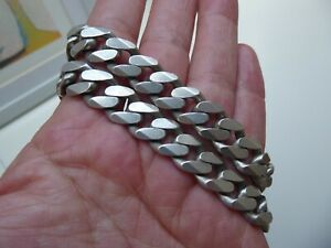 A Fine and Chunky Sterling Silver 925 Flat-link Curb Chain