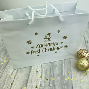 PERSONALISED FIRST CHRISTMAS GIFT BAG, Luxury White Bag, Babies 1st Christmas