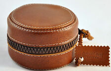 Exclusive reel case with zip for fly reels from carpathian deer natural leather
