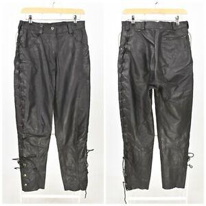 Womens Harley-Davidson Leather Biker Trousers Pants Black Fringed Size UK10