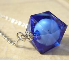 The Avengers Tesseract Inspired Blue Cube Style LOKI Necklace Pendant Charm