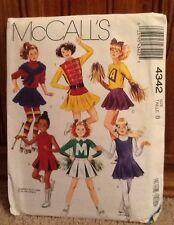 Mccall's 4342 Girl's Cheerleader Skater Majorette Costume Pattern Size 8 Uncut
