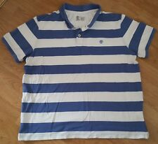Timberland Polo T Shirt Tee Top Short Sleeves Regular Fit Blue Striped Size XXL