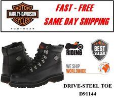 Harley-Davidson® D91144 Men's Steel Toe Drive Safety Black Leather Biker Boots