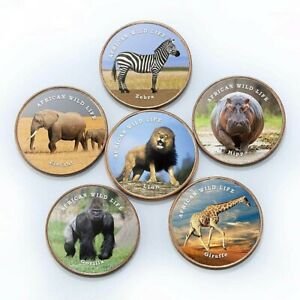 SOMALILAND SET OF 6 DIFFERENT 1 SHILLING 2018 COINS - AFRICAN ANIMALS 26mm UNC