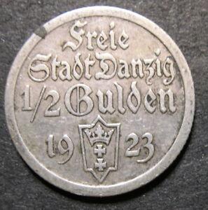 Danzig 1923 silver coin 1/2 or Half Gulden 0.060 ASW CZ5