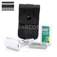3 PIECE DE TRAVEL SAFETY RAZOR WITH LEATHER CASE MADE IN UNITED KINGDOM