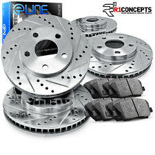 """Brake Rotors FRONT+REAR KIT ELINE """"DRILLED AND SLOTTED"""" & CERAMIC PADS RA51317"""