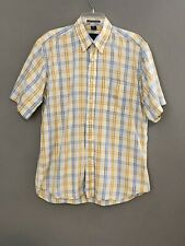 Oscar De La Renta Medium Yellow Blue Plaid Short Sleeve Button Shirt EUC