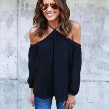 Sexy Womens Chiffon Off Shoulder Casual T Shirt Loose Blouse Tops UK Size 6-14