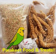 Parakeet Food & Treat Bundle! 5 lbs Feed 8 oz Millet w/Calcium & Mineral Bar!