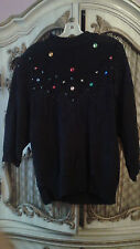 Bonnie and Bill by Holly Black Sweater with Stones SZ L