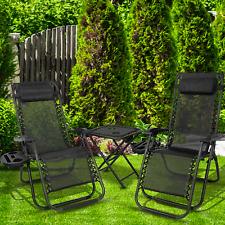 2x Zero Gravity Folding Lounge Garden Chairs Garden Deck Set Outdoor with Table