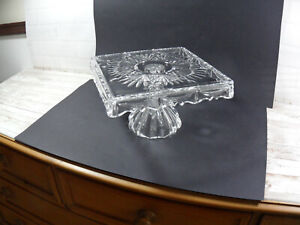 Heavy Quality Glass Square Pedestal Cake Display Stand