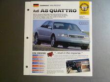 "1994 > AUDI A8 QUATTRO IMP ""Hot Cars"" Spec Sheet Folder Brochure Awesome #2-7"