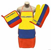 Colombia Kitchen & BBQ Set *NEW* w/ Apron Oven Mitt & Pot Holder Colombian Flag
