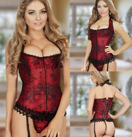 UK Size 6-16 Sexy Red Bustier Basques Lace Up Corset G-string Sets Wedding Dress