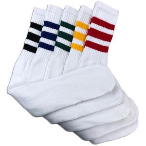 "5 Pairs Men's White Tube Socks w/ Assorted Stripes Heavy Cotton - 24"" Inches"