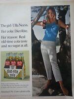 1966 Diet-Rite Sugar Free Cola Soda Carton Bottles Ulla Neess NYC Cover Girl Ad