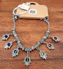 Hamsa Hand Charka Pendant Necklace - Wiccan - Pagan - Boho - Hippy