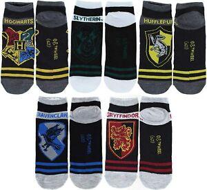 HARRY POTTER HOGWARTS 5-Pack Low Cut No Show Socks Ages 9 & Up (Shoe Sizes 4-10)