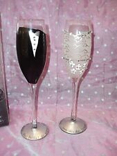 "NIB, ""CYPRESS HOME, Set of 2, BRIDE & GROOM CHAMPAGNE TOASTING FLUTE GLASSES"""