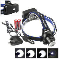 20000lm XM-L T6 LED ZOOM&Recharge Headlamp Light+2xCharger+2x18650 Batttery