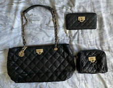 BLACK QUILTED DKNY CHAIN BAG WITH PURSE AND MAKE UP BAG