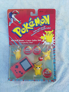 Vintage POKEMON Poke BALL BLASTER with battle discs PIKACHU #25  In 3 Poses