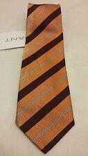 GANT 100% Silk Wide Tie Orange Multicolour Stripe Made in Italy