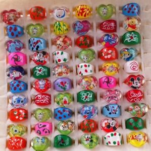 Kids Mix Colours / Shapes Lucite Resin Plastic Rings - Job Lot Party Bag Fillers