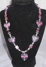 "*LAVENDER LOVE* Valentine Purple Glass Hearts Crystal 20"" Necklace"