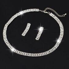 Wedding Bridal Silver Plated Crystal Rhinestone Necklace Earrings Jewelry Set