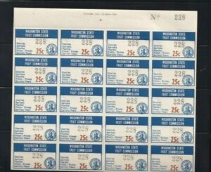 Washington State Fruit Commission 25 Cents Tax Stamp #FR17 Mint Full Sheet