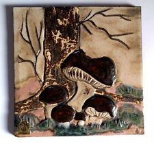 """Ruscha Art  Wand Relief Bild Wandkeramik  """"Pilze"""" Wandfliese 28 x 28 cm"""