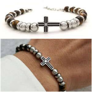 Bracciale da uomo in acciaio inox con croce pietre dure braccialetto rosario
