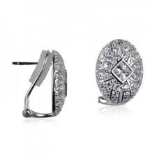 40% SALE Genuine SS Cubic Zirconia Fancy Oval Clip on Stud Earring RRP $99