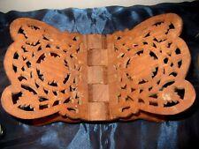 Vintage Ornately Carved Wood Folding Bible Book Stand Holder Display