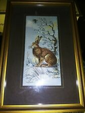 "Vintage Cash's Collector Range  "" Hare"" Silk & Rayon Woven Tapestry Picture UK"
