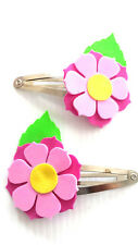 Hair clips - flower clips hot pink with pink (FFC03)