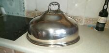 LARGE ANTIQUE 19TH C SILVER PLATED MEAT DOME / CLOCHE 43CM