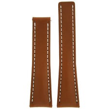 22mm Tan Brown Leather Watch Band Fits Breitling 18mm Deployment buckle